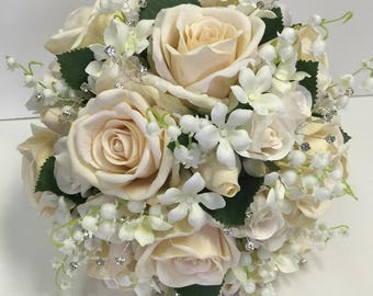 Silk Bridal Bouquet with Ivory Roses White Lily Of The Valley and Stephanotis and Diamante Spray