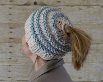 Messy Bun Hat, Messy Bun Beanie, Ponytail Hat, Ponytail Beanie / THE PONYTAIL / 13 Colors