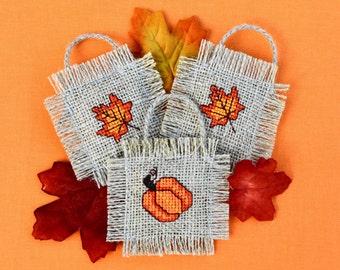 Fall Decor Autumn Mini Cross Stitch Ornaments (Three)