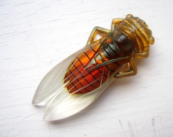 1960's Large Lucky French Cicada Pin Amber Orange Vintage Etsy Front Page 12-22-11 Yay-ah