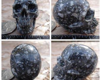 "1.91"" 2.6oz 73.3g Guinea Fowl Jasper Skull Realistic Crystal Healing Magical Metaphysical Mystic Reiki Wicca Large 2 inch Black SK1101"