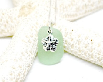 Sea Glass Gift For Friend, Sea Glass Necklace, Starfish Necklace, Sterling Starfish Jewelry, Sea Glass, Gift For Mom, Beach Jewelry