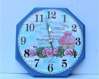 Cupcake and Roses Decoupage Wall Clock