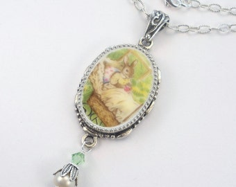 Broken China Jewelry, Baby Bunny Rabbit In Carriage Pram Oval Pendant Necklace Vintage Charm Porcelain Jewelry by Charmedware