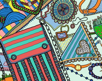 Color Your Accessories No. 3 - Adult Coloring page: