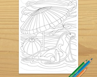 Sealion Coloring Page, Sea Lion Coloring Page, Seal Coloring Page, Beach Coloring Page, Ocean Coloring Page, Digital Download