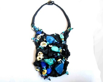 Natural Turquoise Bib Necklace,  Agate  Baltic Amber Black Linen  Necklace Teal Tapestry Macrame