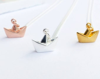 Sterling Silver Origami Boat Necklace - Cute Origami Boat, Sterling Silver Boat Charm Necklace , Origami Boat Pendant, Origami Necklace