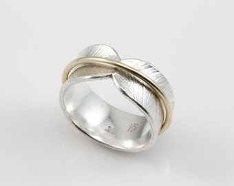 Bodhi Leaf Spinner Ring, meditation ring, fidget ring, worry ring, spinning ring, recycled silver ring, mixed metal ring, wide band