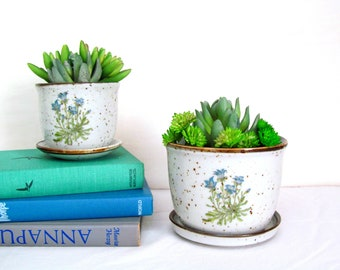vintage stoneware herb planter pots , speckled with flowers