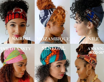Satin Lined Headband Wrap, Wide Headband, Pineapple Bun Wrap, Ankara African Turban Wrap, - Choose Color