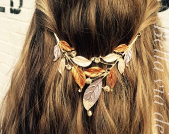 Hair Jewelry, Hair Accessory, Tribal Head Chain, Brown Vintage Hippie Head Piece. Boho Hair Band, Leaf Design