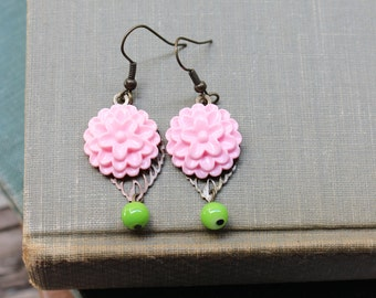 Flower Cabochon Earrings in Rich Pastel Pink w/filigree leaf and green beads