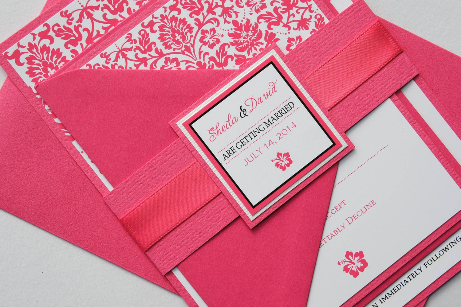 Hot Pink Hibiscus Tropical Damask Invitation and RSVP