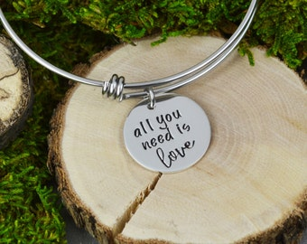 All You Need is Love Adjustable Bangle Bracelet - Stacking Bangle