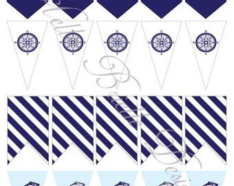 Classy Nautical Party Printable Mini Flags in Navy