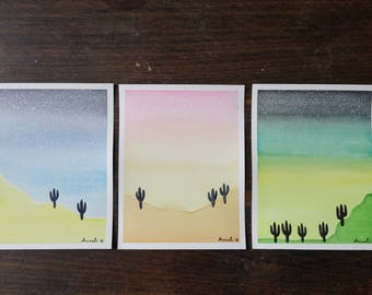 Cactus painted in watercolor 11.5 x 15 cm / / Illustration / / gift for her / / greeting card / / postcard / / gradient sky