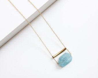 Blue Aquamarine Long Necklace,Two Circle Necklace,Crystal Necklace,14K Gold Filled