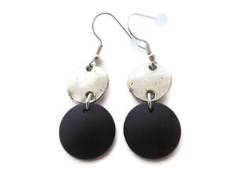 Long Black Earrings, Black Beach Glass Earrings, Recycled Glass, Black Sea Glass Earrings, Round Black Dangle, Black and Silver Drop Earring