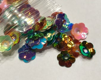 8 mm mix of flower sequins, (38)