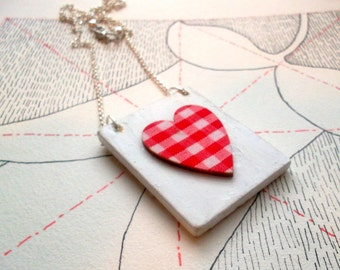 Gingham heart necklace