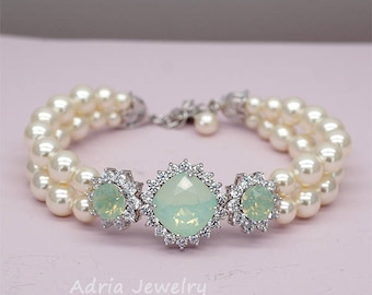Mint Wedding Bracelet,Green Bridal Bracelet, Mint Green Bracelet ,Swarovski Crystal Wedding Jewelry, Chrysolite Opal Bracelet for Brides