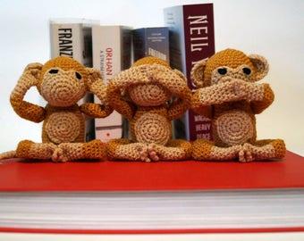 Three Wise Monkeys Crochet PDF Pattern, Amigurumi monkey, Emoji Monkey, Monkey Toy, Emoji Pattern, Monkey Emoji, Crochet Amigurumi, Handmade