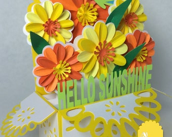 Sunshine Bouquet Card In A Box 3D SVG
