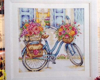 French Flower Seller's Bicycle - PDF Cross Stitch Pattern