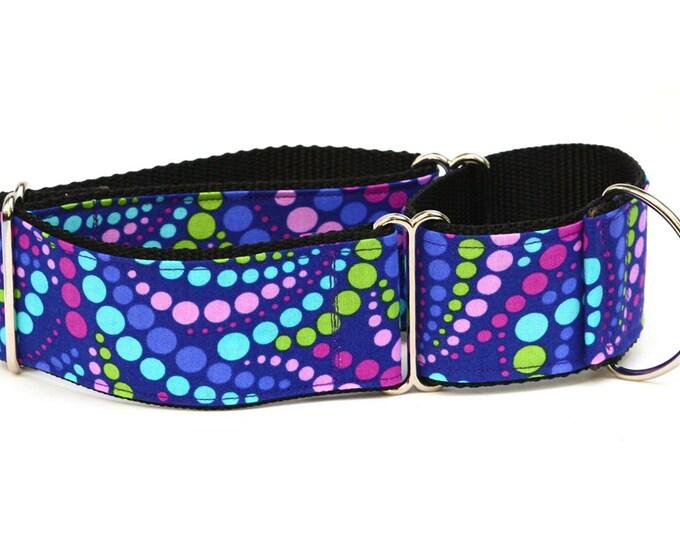 """Greyhound Dog Collar - Grape Soda Polka Dots - 2"""" Martingale Dog Collar"""
