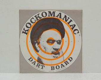Vintage Kockomaniac Dart Board Sticker Pop Art of Ayatollah Kolmeny; 1970s Propaganda Weird; FREE SHIPPING U.S.A.