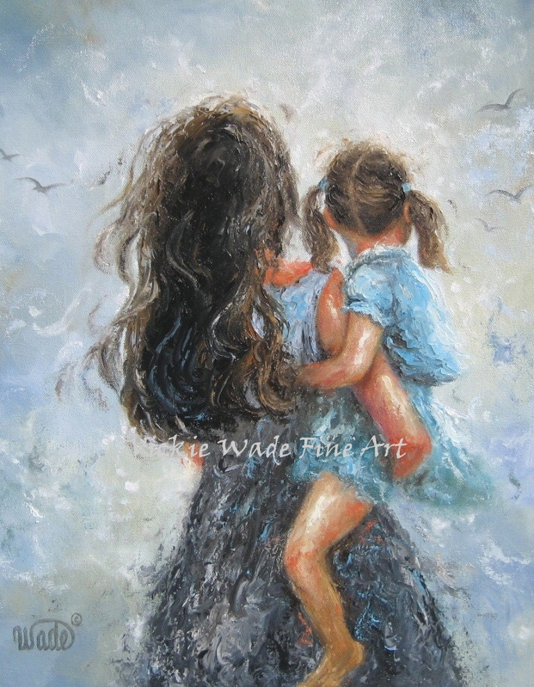 Mother Daughter Art Print Mother Paintings Mom Little
