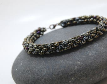 Beaded Bracelet, Stackable Bangle, Beadwoven Bracelet, Heavy Metal Jewelry, Handmade Jewelry, Gift for Her, Girls Night Out,Penthouse