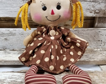 Raggedy Annie Krista Annie Primitive Doll Raggedy Ann Brown Polka Dot Dress Annie Doll Ready To Ship!