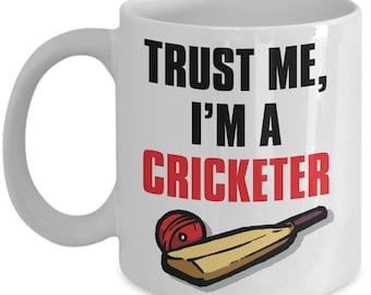 Funny Cricket Mug for Him, Gift for Cricketer Mug, Cricketer Gifts, Cricket Gifts, Trust Me I'm a Cricketer Gift, Cricket Bat Illustration
