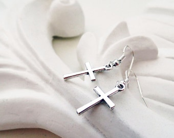 Silver Cross Earrings | Religious Earrings