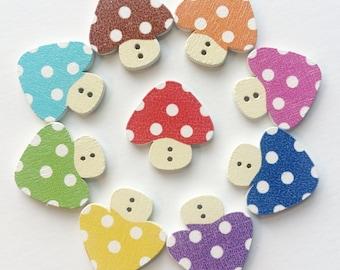 Wooden Buttons- Mushrooms- 8pcs wood buttons