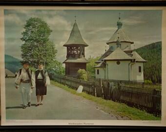 Vintage  Pull Down Chart  Waldkarpaten Rumanien  School Chart