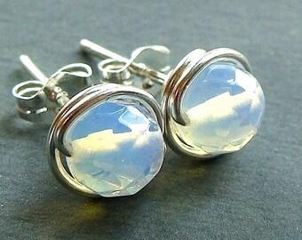 Sea Opal Studs Faceted 6mm Opalite Studs Sea Opal Post Earrings Wire Wrapped in Sterling Silver Stud Earrings