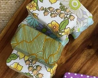 Handmade Organic Olive Oil Soap with Essential Oils and Vintage Print Fabric Wrapping