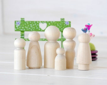 Family of 6 Wooden Peg Dolls - Unfinished Wooden People - Medium Family wooden peg dolls in a Muslin Bag - Set of 6 - DIY Crafts