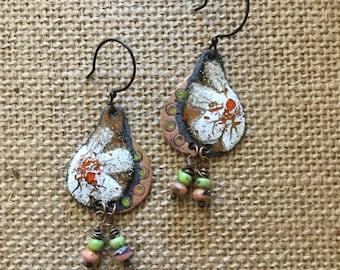 Artisan bohemian rustic enameled dangle earrings