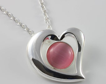 Pink Cats Eye glass heart pendant