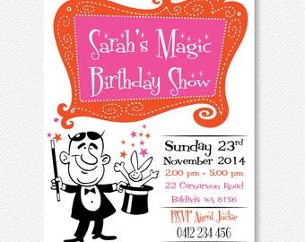 Retro Girl's Magic Party Invitation | Personalised Digital file
