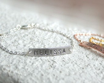Name bracelet, Custom bracelet, Sterling silver bar bracelet, Personalized Initial bar, Bridesmaid bracelets, Monogram bracelet, Minimalist