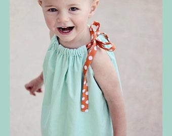 Aqua and orange polka dot Nemo inspired pillowcase dress