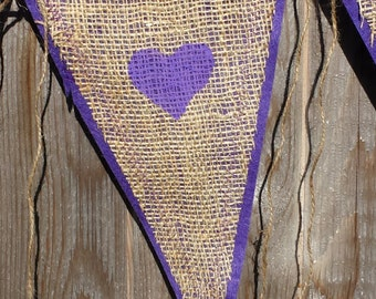 Upcycled KEELY & ROB Burlap Banner (navy painted letters with purple felt backing) Eco-Friendly Home or Wedding Decor