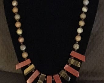 Red Jasper and Tiger's Eye necklace