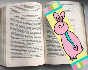Pink Easter Bunny Bookmark by Elizabeth Claire