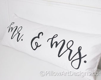 Mr and Mrs Pillow Cover 12 X 36 White Cotton Lumbar Bolster Made in Canada